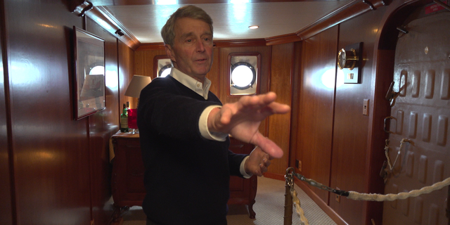 Bill Golden shows off the interior of his six bedroom lightship-turned-yacht. (ROB DIRIIENZO / FOX NEWS)