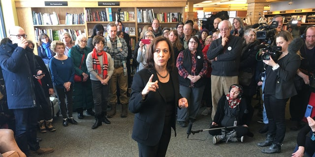 Sen. Kamala Harris talking to a crowd at Gibson's Bookstore in Concord, N.H.