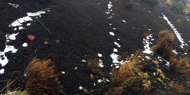 Black volcanic cinders have a dusting of snow at the Polipoli State Recreation area on the slopes of Haleakala near Kula on the Hawaii island of Maui, Monday, Feb. 11, 2019.