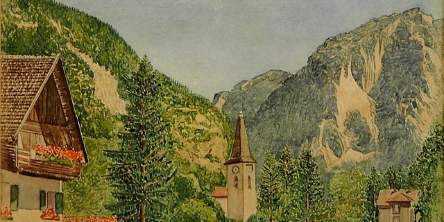 Auktionhaus Weidler had been due to auction off 31 drawings and watercolor landscapes believed to be by Adolf Hitler. But they have now withdrawn some of them. It's unclear if this image is one of the withdrawn items