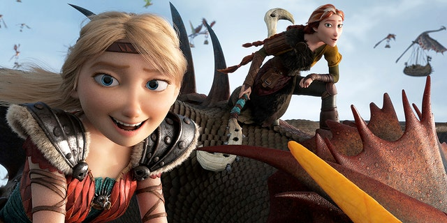 """This image released by Universal Pictures shows characters Astrid, voiced by America Ferrera, left, and Valka, voiced by Cate Blanchett, in a scene from DreamWorks Animation's """"How to Train Your Dragon: The Hidden World."""""""