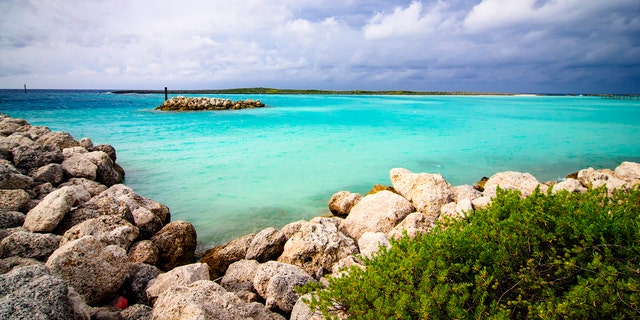 Storm clouds approach Castaway Cay