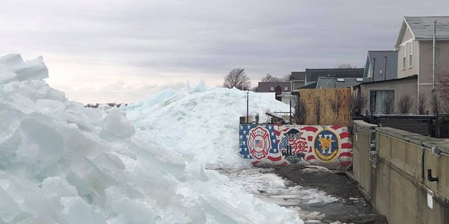 Large ice mounds can be seen at Hoover Beach along Lake Erie in New York on Sunday.