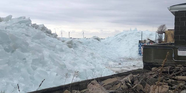 The ice tsunami was between 25 and 30 feet high on Sunday.