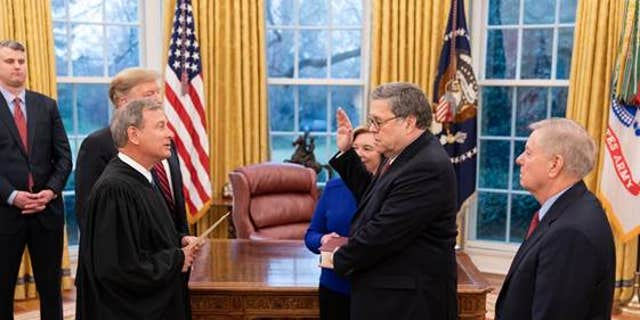 Barr was sworn in by Chief Justice John Roberts on Thursday. (Official White House Photo by Shealah Craighead)