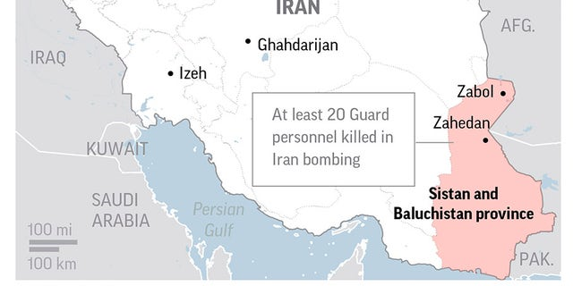 Iran suicide bomb attack targeting Revolutionary Guard bus leaves at least 20 dead, reports say