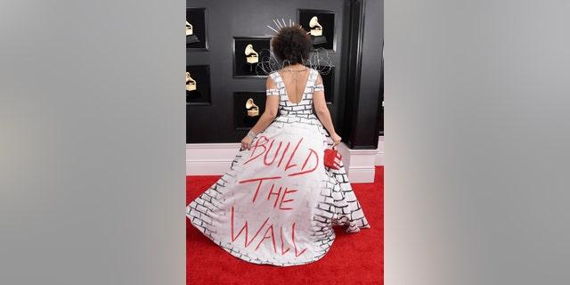 LOS ANGELES, CA - FEBRUARY 10: Joy Villa's border wall dress at the Grammys. (Photo by Steve Granitz/WireImage)
