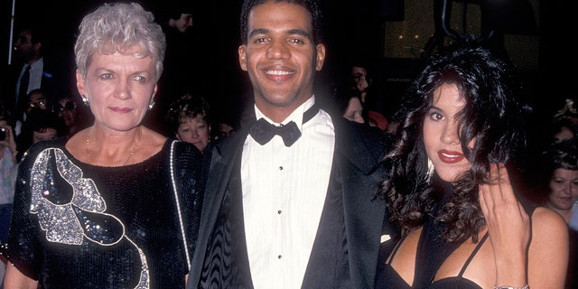 Actor Kristoff St. John, mother Maria and his wife Mia attend the 20th Annual Daytime Emmy Awards on May 26, 1993 at the Marriott Marquis Hotel in New York City.