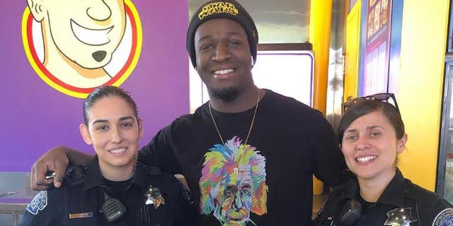 Julian Surall was hailed a hero for stopping an alleged robber outside the sandwich shop where he worked in Modesto, Calif.
