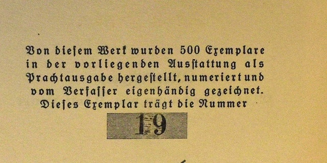 Hitler signed the first edition 'Special Presentation' copy and gave it to fellow Nazi and prison inmate Hermann Esser on Christmas Eve 1925. Signed copies of the book were only handed out to a select few of Hitler's inner circle. (Credit: SWNS)