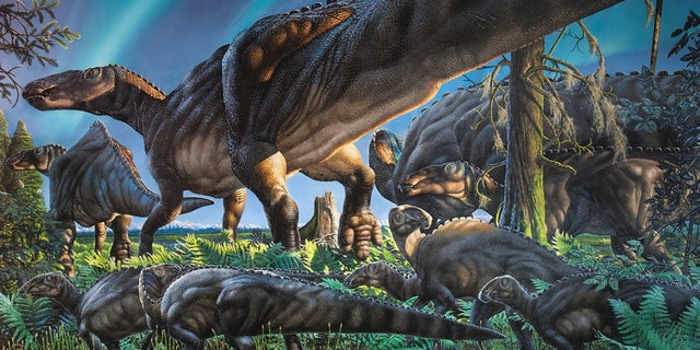 <em>Unnuakomys hutchisoni</em> iis almost undetectable in this mural depicting the Arctic landscape of the late Cretaceous.