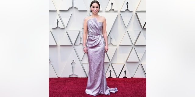 Emilia Clarke arrives at the Oscars on Sunday, Feb. 24, 2019, at the Dolby Theatre in Los Angeles.