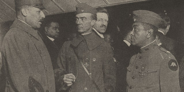 Lieut. Col. Otis Duncan, right, of the 370th Infantry Regiment, 93rd Division, was the highest ranking African American in the American Expeditionary Forces during World War I.