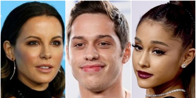 Kate Beckinsale (left), Pete Davidson (center) and Ariana Grande (right).
