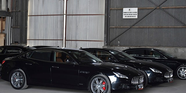 Maseratis were among the cars used for the meeting.
