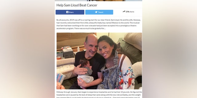 A GoFundMe page is asking for $100,000 to cover medical and childcare expenses for actor Sam Lloyd and his wife Vanessa who recently gave birth to their son, Weston.