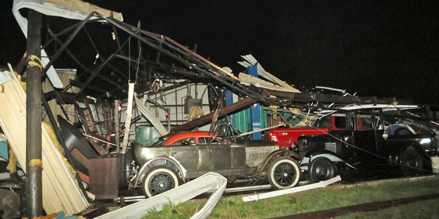 This picture shows Damage to Lawrence Motors in Columbus, Miss. after a tornado in the city center.