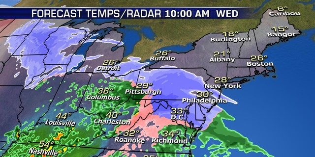 Snow will impact the major cities across the Northeast by midday on Wednesday.