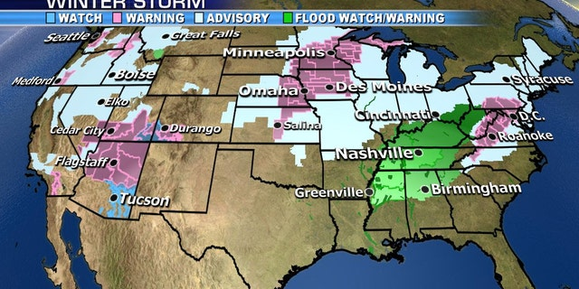 Winter weather alerts and flood advisories span across multiple states.