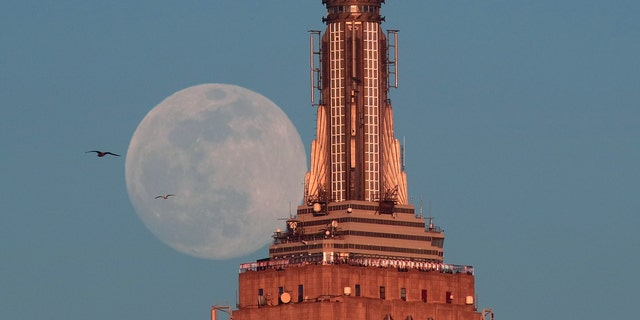 The almost full super snow moon rises at sunset behind the Empire State Building in New York City on Feb. 18, 2018 photographed from Hoboken, New Jersey.