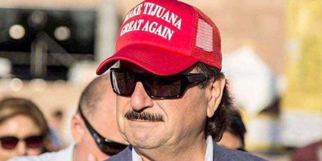 "Tijuana Mayor Juan Manuel Gastelum wears ""Make Tijuana Great Again"" hat."