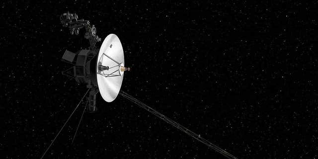 An artist's depiction of the Voyager 2 probe traveling through our solar system.