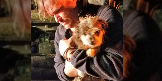 Second Chance Wildlife Sanctuary's Jim Bronzo cradles dog named Yoshi he rescured from fire.