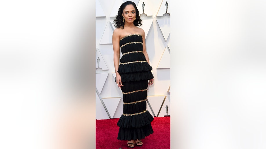 Tessa Thompson arrives at the Oscars on Sunday, Feb. 24, 2019, at the Dolby Theatre in Los Angeles. (Photo by Richard Shotwell/Invision/AP)