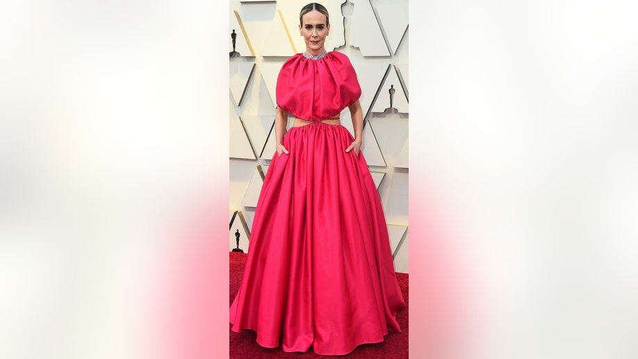 Sarah Paulson arrives at the Oscars on Sunday, Feb. 24, 2019, at the Dolby Theatre in Los Angeles. (Photo by Jordan Strauss/Invision/AP)
