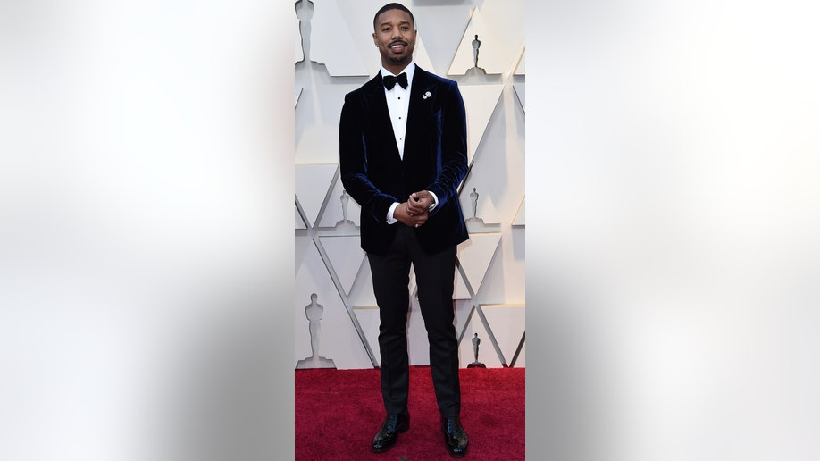 Michael B. Jordan arrives at the Oscars on Sunday, Feb. 24, 2019, at the Dolby Theatre in Los Angeles. (Photo by Richard Shotwell/Invision/AP)