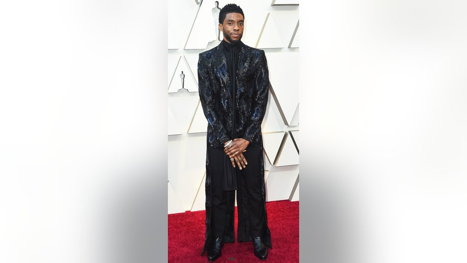 Chadwick Boseman arrives at the Oscars on Sunday, Feb. 24, 2019, at the Dolby Theatre in Los Angeles. (Photo by Jordan Strauss/Invision/AP)