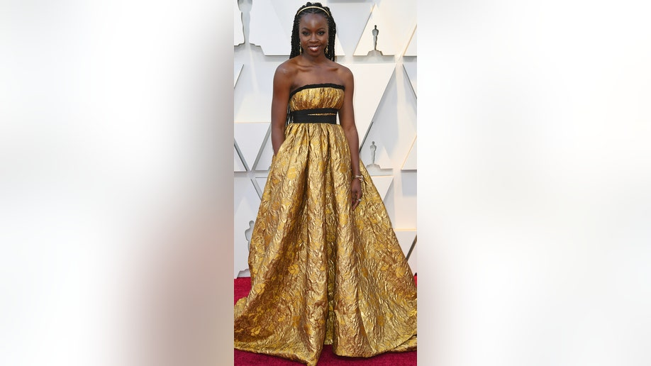Danai Gurira arrives at the Oscars on Sunday, Feb. 24, 2019, at the Dolby Theatre in Los Angeles. (Photo by Richard Shotwell/Invision/AP)