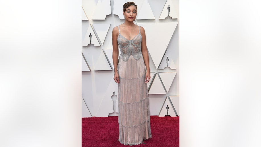 Amandla Stenberg arrives at the Oscars on Sunday, Feb. 24, 2019, at the Dolby Theatre in Los Angeles. (Photo by Richard Shotwell/Invision/AP)