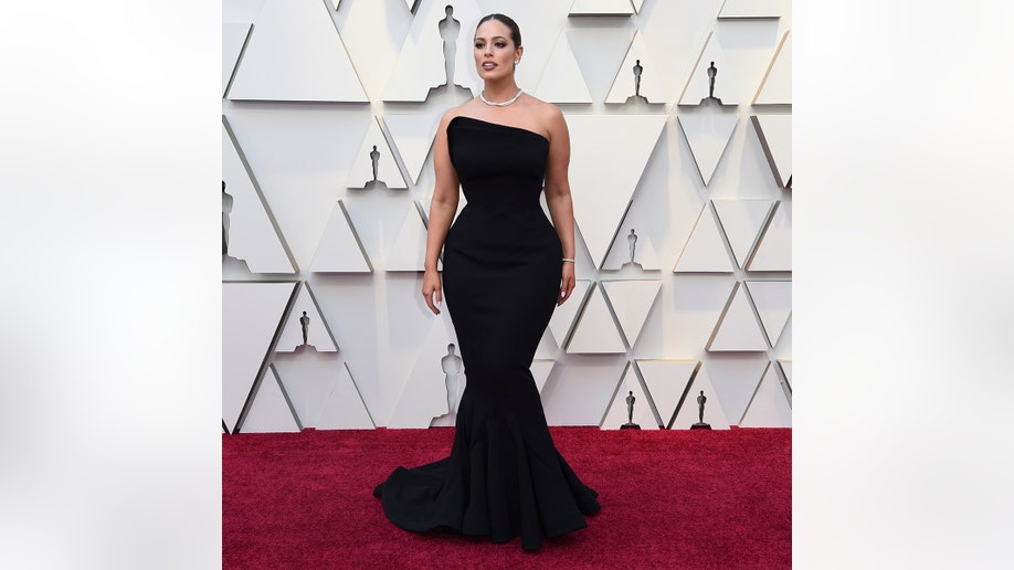 Ashley Graham arrives at the Oscars on Sunday, Feb. 24, 2019, at the Dolby Theatre in Los Angeles. (Photo by Richard Shotwell/Invision/AP)