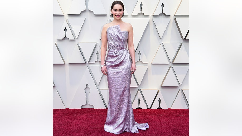 Emilia Clarke arrives at the Oscars on Sunday, Feb. 24, 2019, at the Dolby Theatre in Los Angeles. (Photo by Richard Shotwell/Invision/AP)