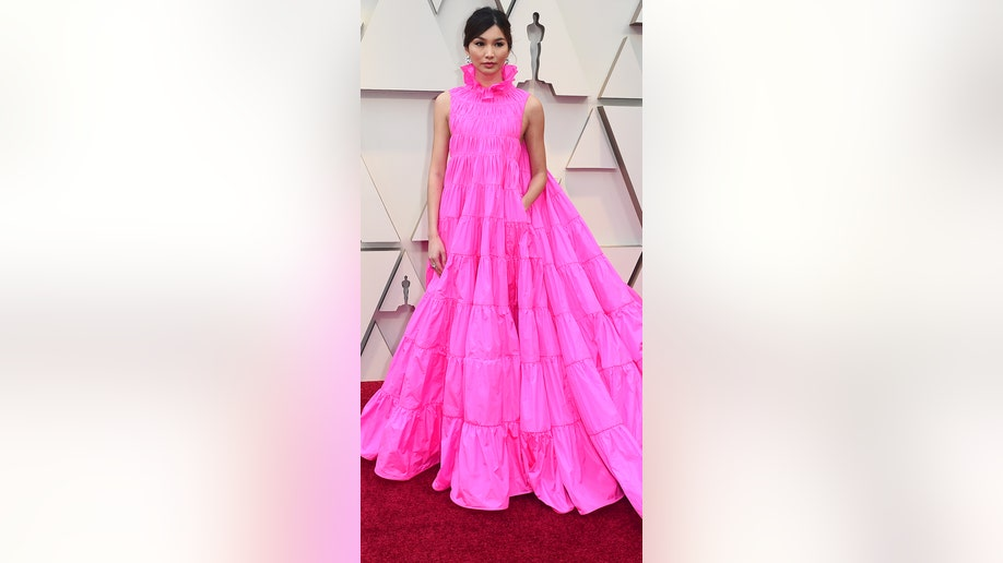 Gemma Chan arrives at the Oscars on Sunday, Feb. 24, 2019, at the Dolby Theatre in Los Angeles. (Photo by Jordan Strauss/Invision/AP)
