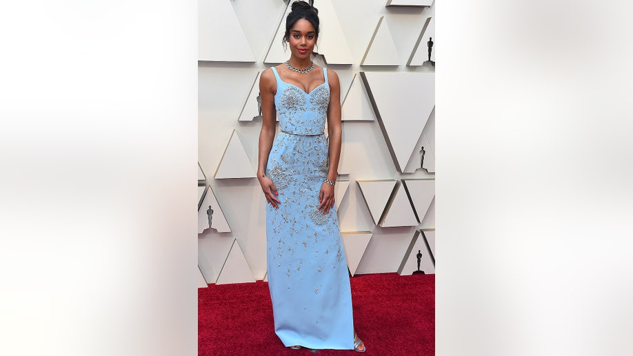 Laura Harrier arrives at the Oscars on Sunday, Feb. 24, 2019, at the Dolby Theatre in Los Angeles. (Photo by Jordan Strauss/Invision/AP)