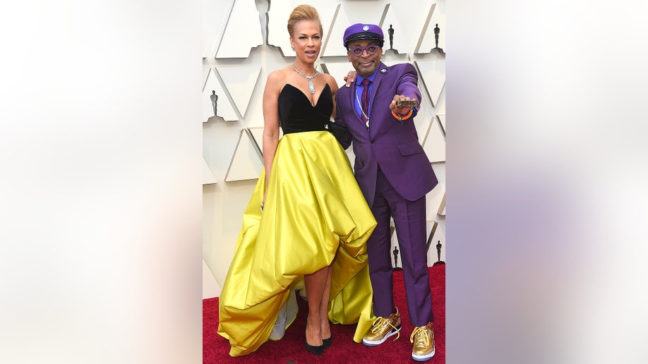 Tonya Lewis Lee, left, and Spike Lee arrive at the Oscars on Sunday, Feb. 24, 2019, at the Dolby Theatre in Los Angeles. (Photo by Jordan Strauss/Invision/AP)
