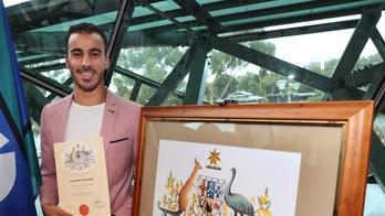 Refugee soccer player happy he's now an Australian citizen