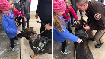 Terminally ill Wisconsin girl who loves dogs visited by K-9 officers, nearly 40 police departments
