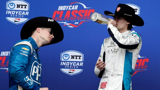 18-year-old Colton Herta becomes youngest Indycar winner, celebrates with sparkling wine