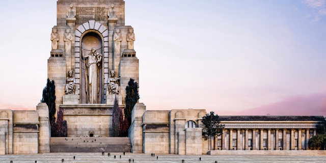 A digital rendering of the unbuilt Liberty Memorial in Kansas City, Missouri.