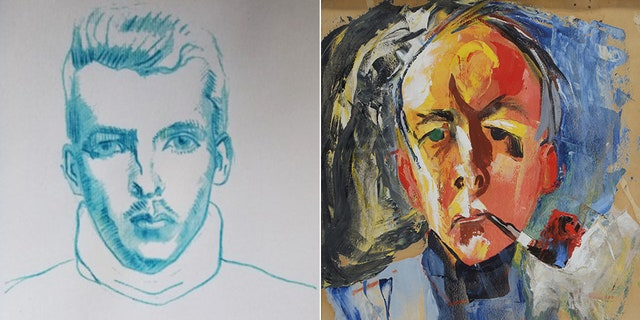 A self-portrait Montlaur made in 1939, during the outbreak of World War II, then another one he did of himself around 30 years later. What he saw during the battles would later play a pivotal role in the art he created. (Courtesy Montlaur Family)