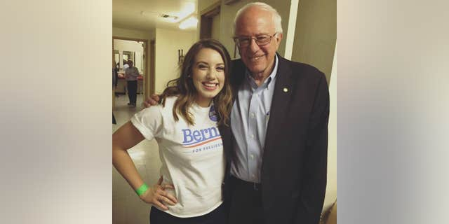 Belén Sisa, a millennial left-wing activist from Arizona, joined Bernie Sanders' 2020 presidential campaign in February. She shared a photo taken with Sanders from 2015 on her Facebook page. (Facebook)