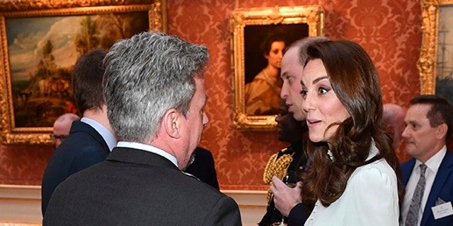Britain's Kate, Duchess of Cambridge attends a reception at Buckingham Palace, London, Tuesday March 5, 2019, to mark the fiftieth anniversary of the investiture of the Prince of Wales. (AP)