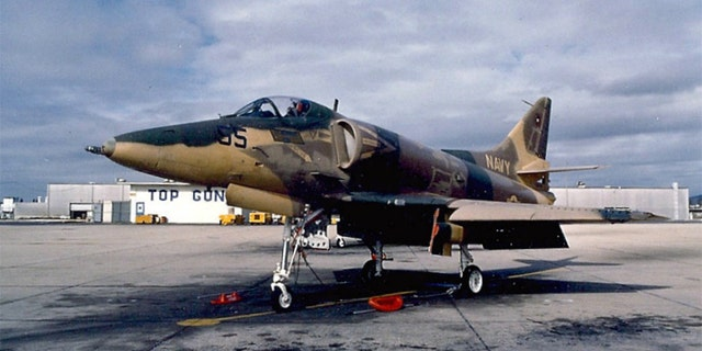 "A U.S. Navy Douglas A-4E Skyhawk (BuNo 151095) from the Fighter Weapons School (""Top Gun"") at Naval Air Station Miramar, California (USA) in the late 1980s or early 1990s. (photo U.S. Navy)"