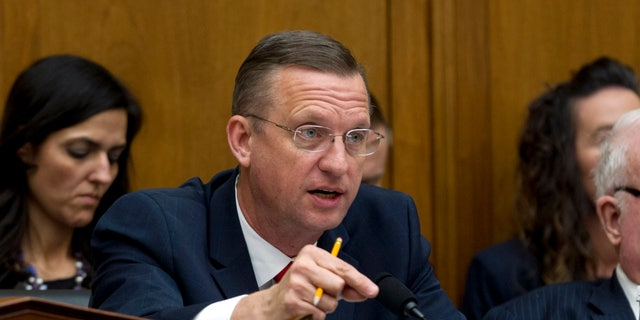 House Judiciary Committee Ranking Member Rep. Doug Collins, R-Ga. speaks during a House Judiciary Committee hearing on the Trump administration's separation policy involving migrant families. (AP Photo/Jose Luis Magana)