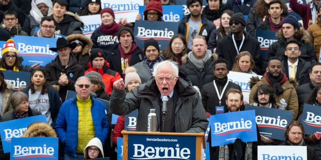 "Sen. Bernie Sanders, I-Vt., speaks as he kicks off his second presidential campaign, Saturday, March 2, 2019, in the Brooklyn borough of New York. Sanders pledged to fight for ""economic justice, social justice, racial justice and environmental justice."" (AP Photo/Craig Ruttle)"