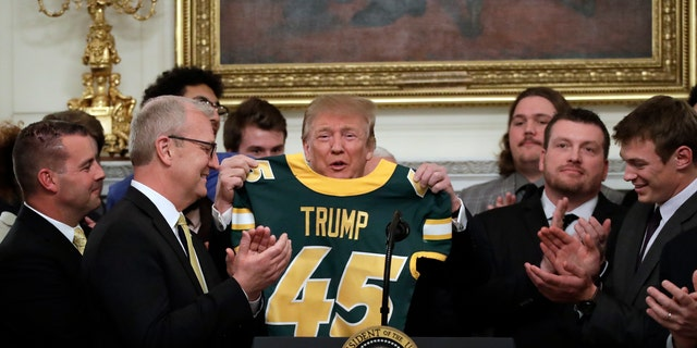 The Bison awarded the president with a specialized jersey.