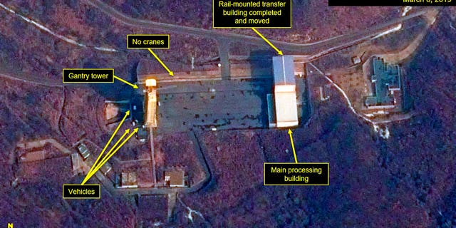 This image provided by Airbus Defence & Space and 38 North via a satellite image from CNES which was captured on March 6, 2019, shows the Sohae Satellite Launch Facility in Tongchang-ri, North Korea. North Korea is restoring facilities at the long-range rocket launch, which it dismantled last year as part of disarmament steps, according to foreign experts and a South Korean lawmaker who was briefed by Seoul's spy service.